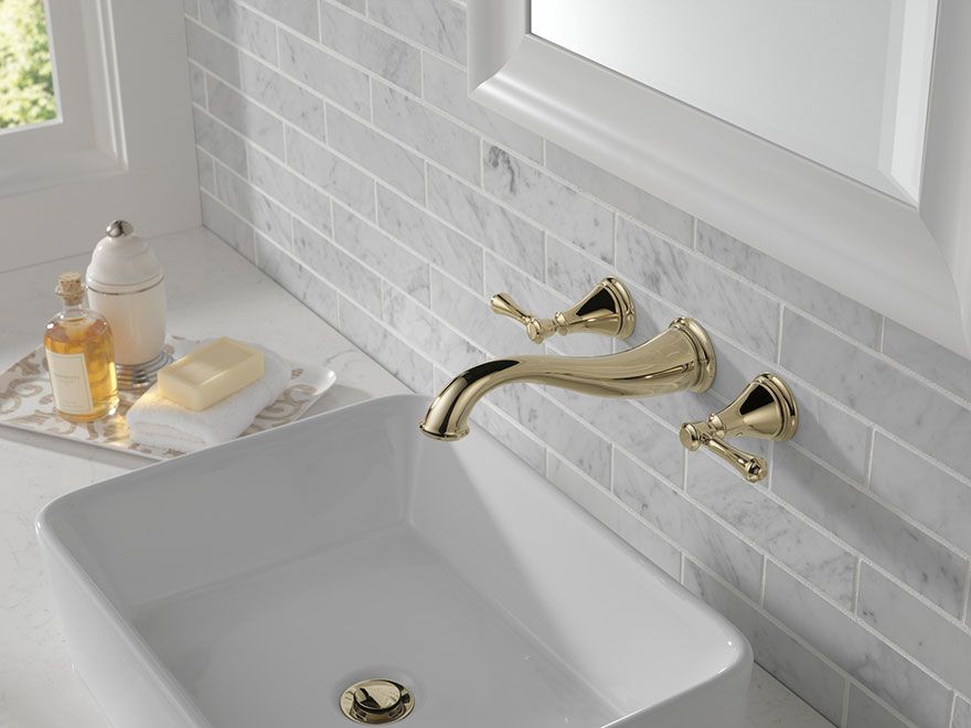 Delta Cassidy Collection Polished Nickel Wall Mount Bathroom Faucet