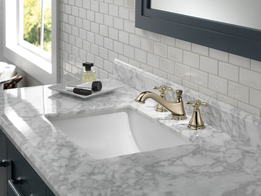 Delta Cassidy Polished Nickel Widespread Lavatory Bathroom Sink Faucet