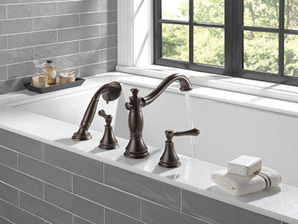 Delta Cassidy Venetian Bronze Roman Tub Filler Faucet with Sidespray and Lever Handles Water