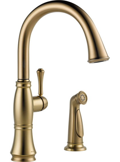 Delta Champagne Bronze Kitchen Faucet with Side Spray
