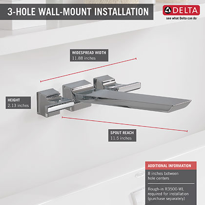 Delta Chrome Finish Pivotal Collection Wall Mount Tub Filler Faucet Infographic
