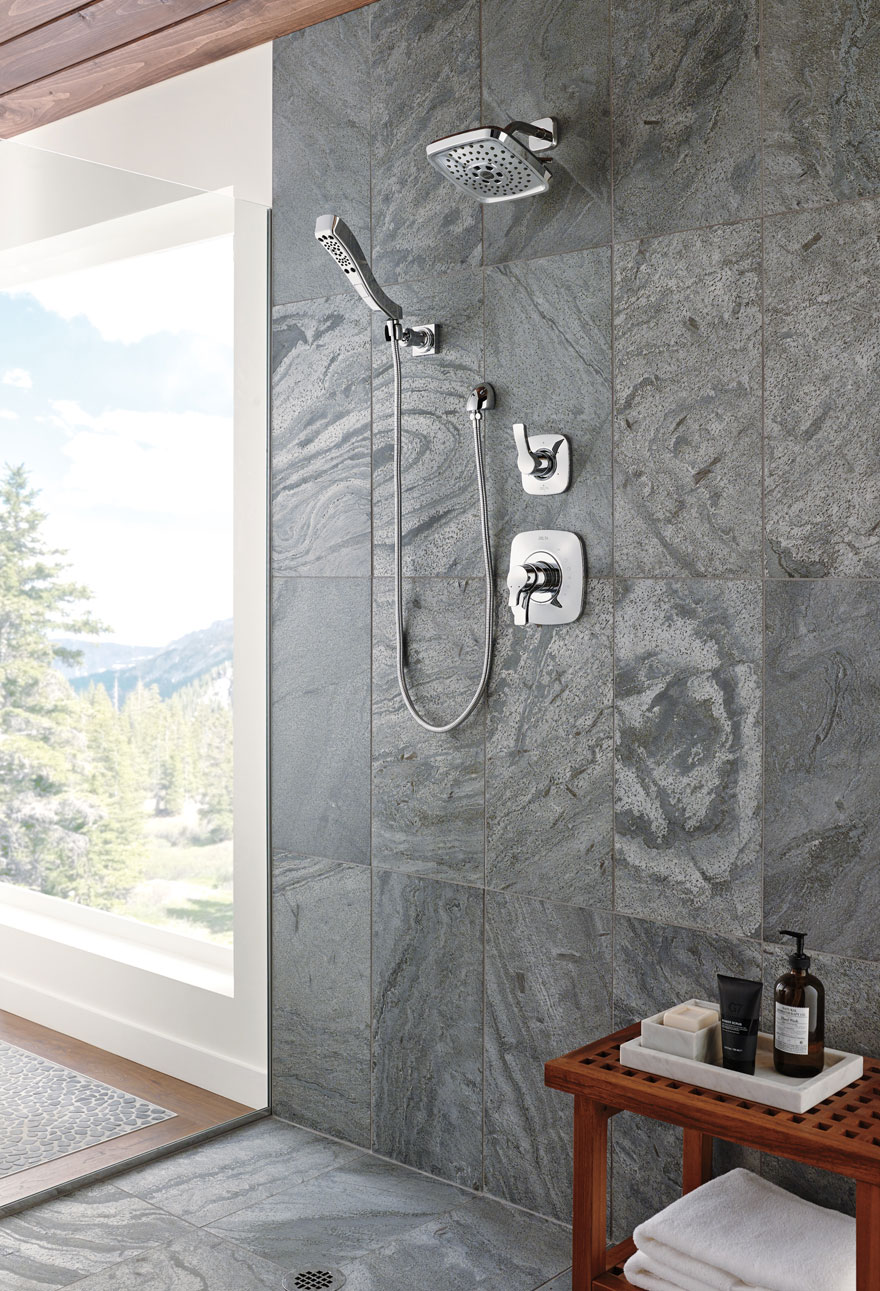 Delta Chrome Finish Tesla Collection Shower System with Showerhead and Hand Sprayer