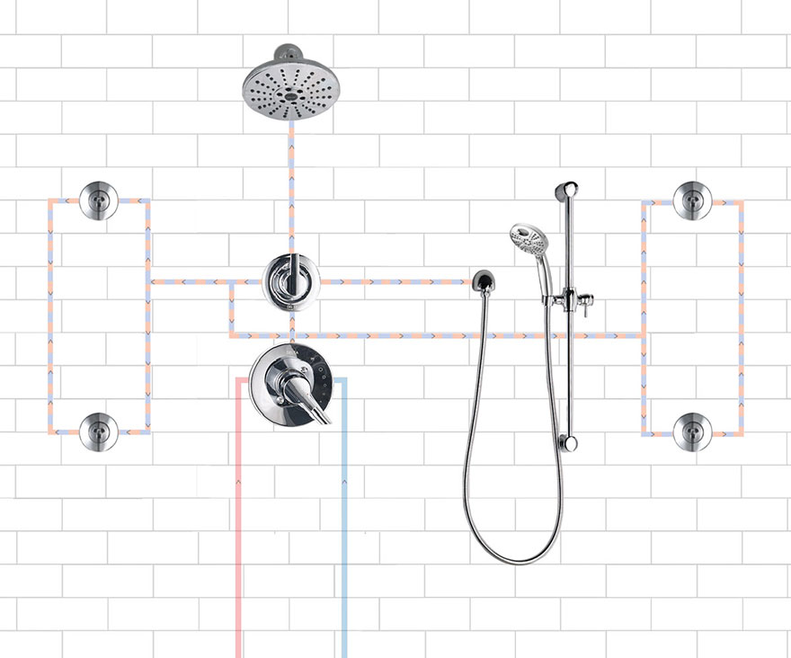 Delta Shower System with 4 Body Sprays, Showerhead, and Hand Sprayer Installation: Closed Wall