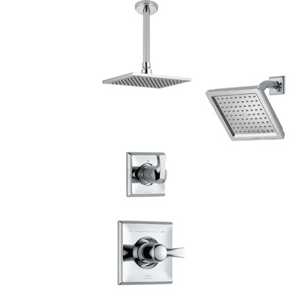 Delta Dryden Collection Chrome Shower System with Ceiling Mount Showerhead