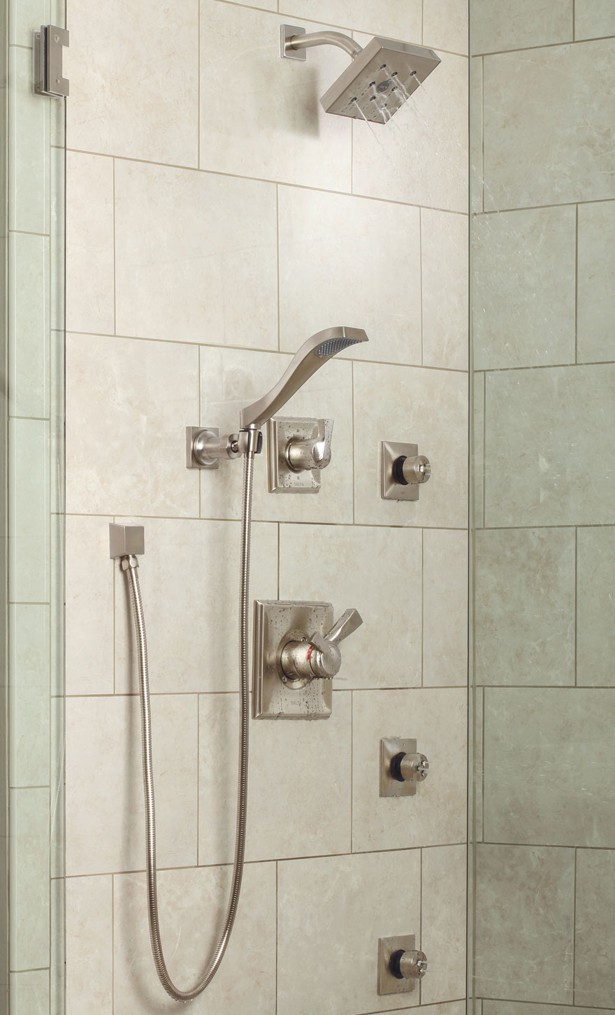 Delta Dryden Collection Stainless Steel Shower System with Handshower and Body Sprays