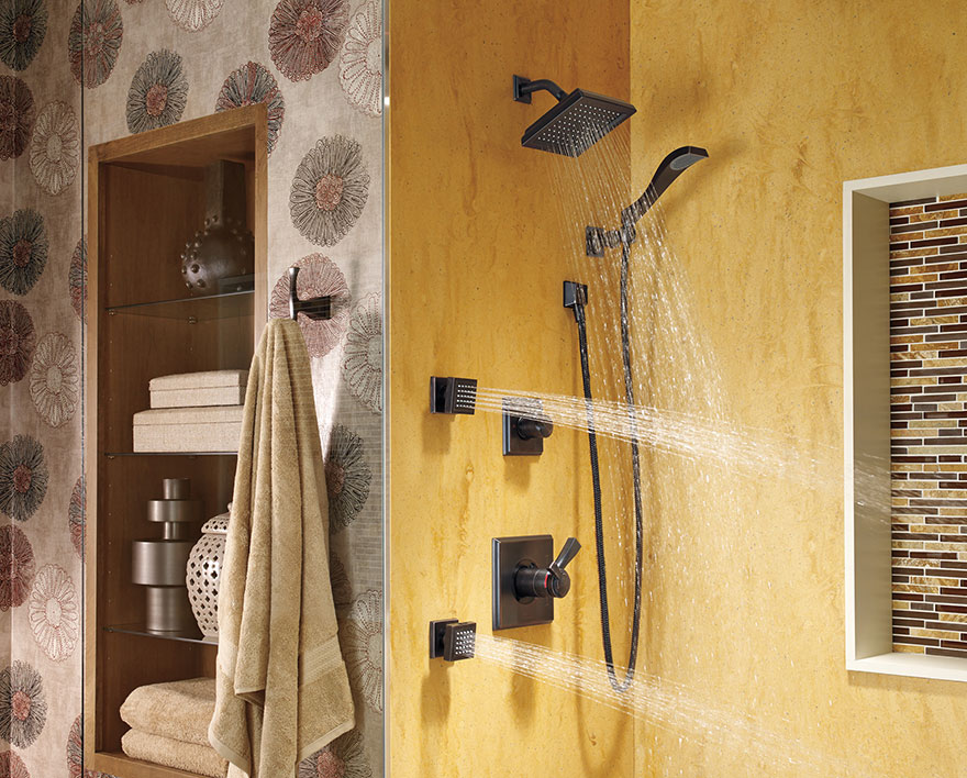 Delta Dryden Collection Venetian Bronze Shower System with Body Sprays and Hand Shower