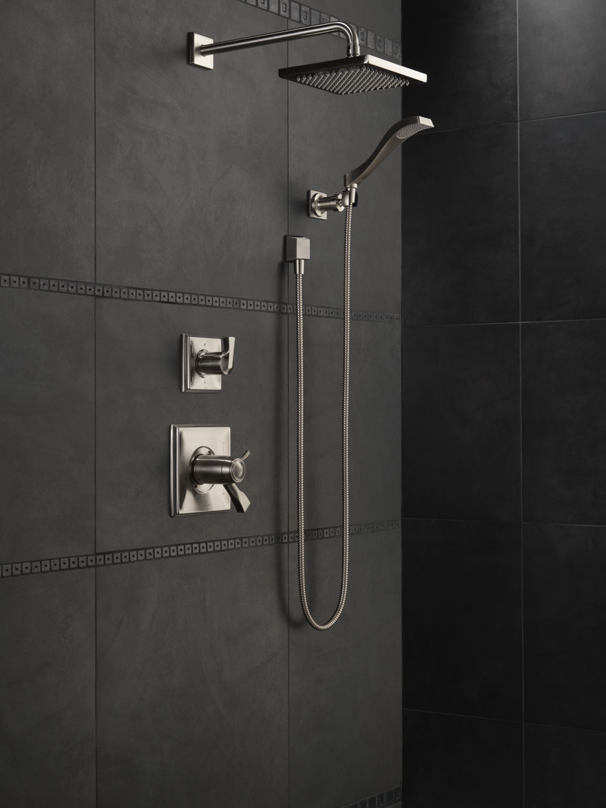 Delta Dryden Stainless Steel Finish Shower System with Handheld Spray and Large Showerhead