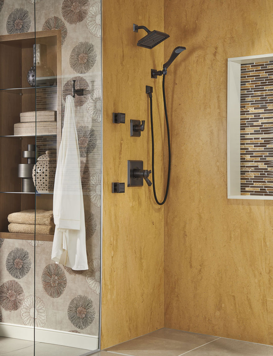 Delta Dryden Venetian Bronze Shower System with Showerhead Hand Shower and Body Sprays