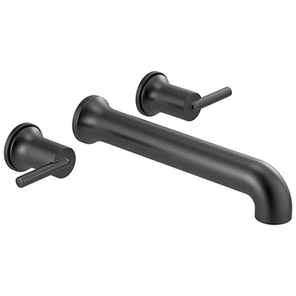 Delta Trinsic Modern Matte Black Finish Wall Mounted Tub Filler Faucet Trim Kit (Requires Valve) DT5759BLWL