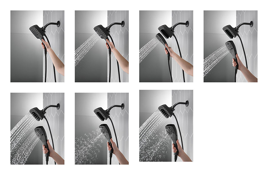 Delta Matte Black Finish H2Okinetic In2ition 5-Setting Modern Two-in-One Showerhead Hand Shower Combo D58474BL
