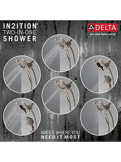 Delta in2ition Stainless Steel Finish Showerhead Hand Shower Spray Options