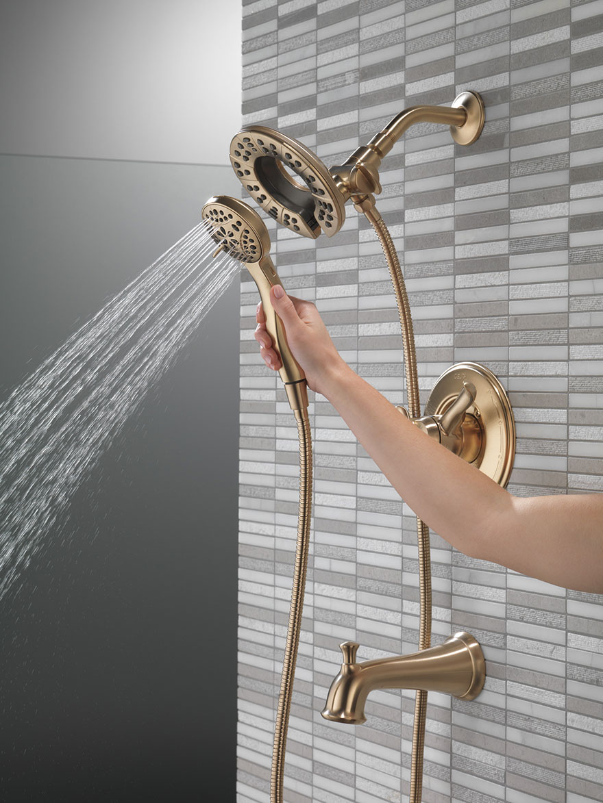 Delta Linden Champagne Bronze In2ition Tub Shower Faucet with Showerhead and Detached Hand Spray Running