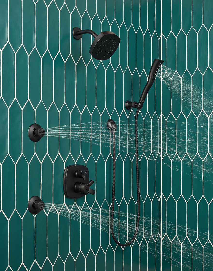 Delta Matte Black Stryke Collection Shower System with Hand Shower, Showerhead, and Body Sprays