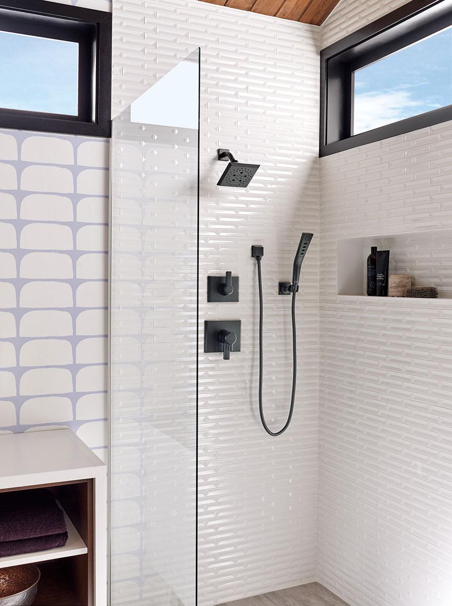 Delta Pivotal Collection Matte Black Shower System with Handshower