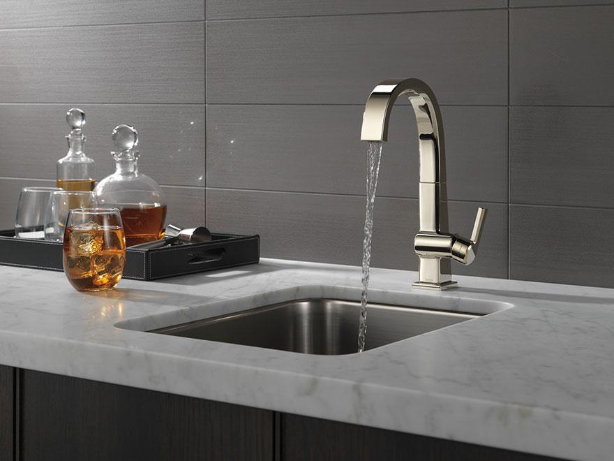 Delta Pivotal Polished Nickel Kitchen Bar Sink Faucet