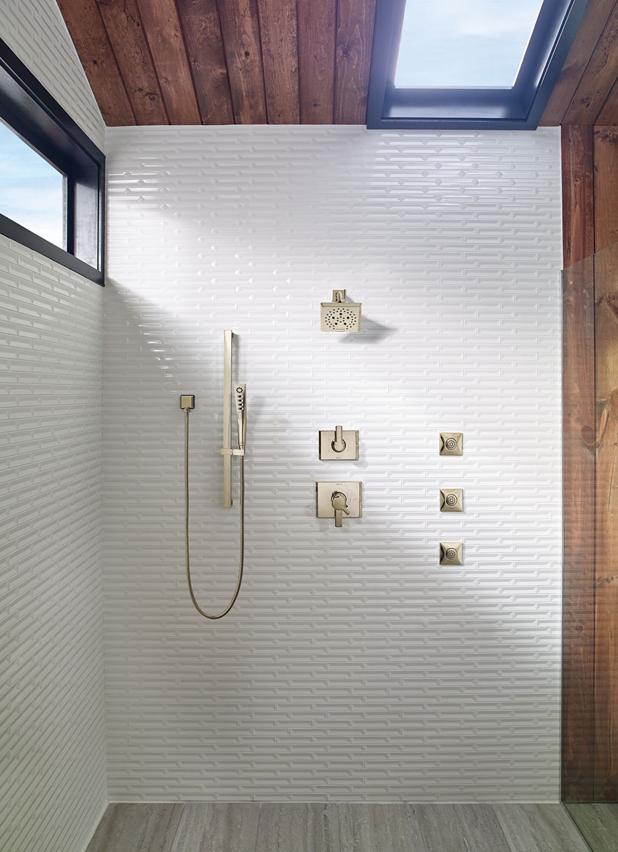 Delta Pivotal Collection Polished Nickel Shower System with 3 Body Sprays and Hand Shower