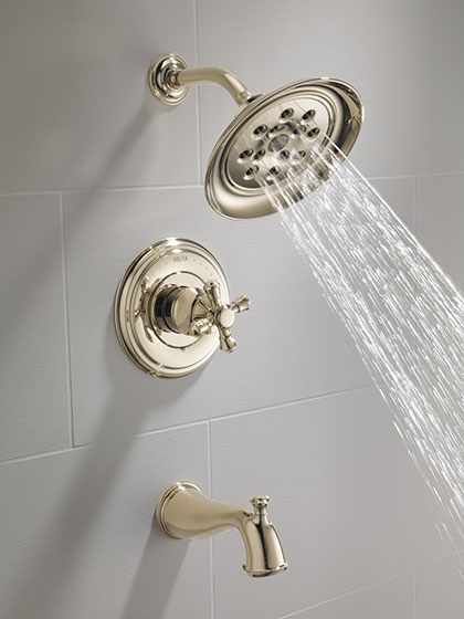 Delta Polished Nickel Finish Cross Handle Tub and Shower Cassidy Collection with Water