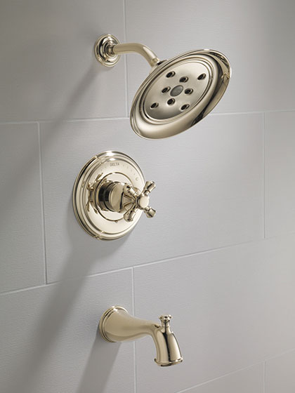 Delta Polished Nickel Finish Cross Handle Tub and Shower Cassidy Collection without Water