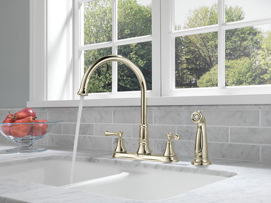 Delta Cassidy Polished Nickel Centerset Kitchen Faucet With Side Sprayer