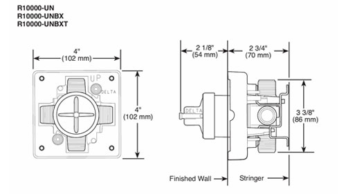Delta R10000 UN Rough-in Valve Spec Sheet