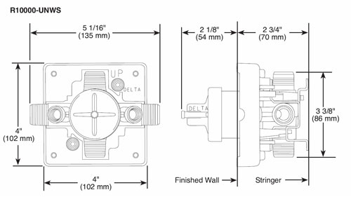 Delta R10000 WS Rough-in Valve Spec Sheet