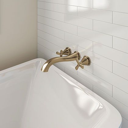 Delta Stryke Collection Champagne Bronze Finish Cross Handle Wall Mounted Tub Filler Faucet