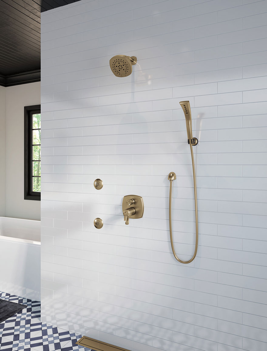 Delta Stryke Collection Champagne Bronze Integrated Diverter Shower System with Body Sprays, Showerhead, and Hand Shower