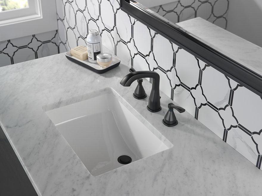 Delta Stryke Collection Matte Black Widespread Bathroom Sink Faucet