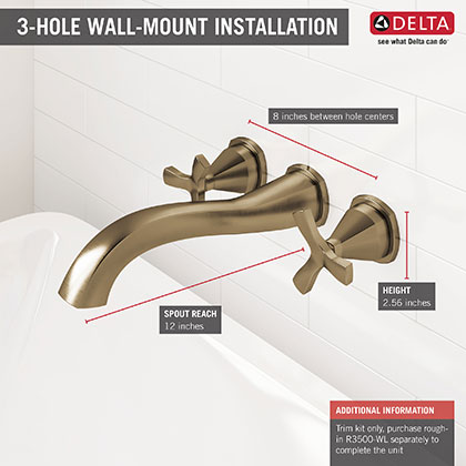 Delta Stryke Collection Wall Mount Champagne Bronze Tub Filler Faucet Infographic