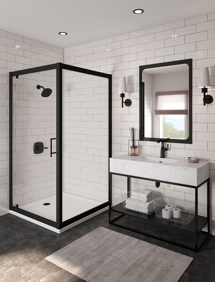 Delta Stryke Collection Matte Black Bathroom Faucet and Shower Fixture