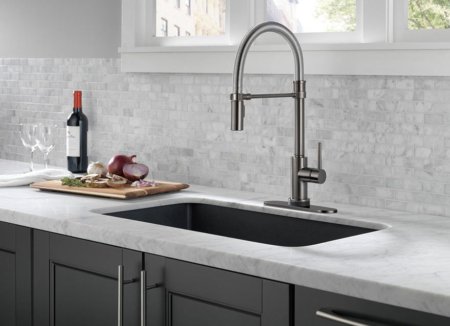 Delta Trinsic Collection Black Stainless Spring Spout Pre-Rinse Single Hole Kitchen Faucet