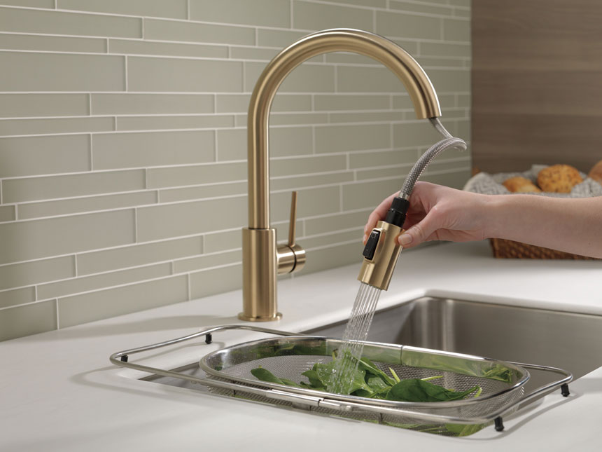 Delta Trinsic Collection Champagne Bronze Kitchen Faucet with Pull-out Sprayer
