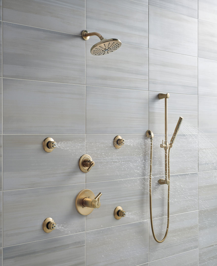 Delta Trinsic Champagne Bronze Shower System with Body Sprays and Hand Shower