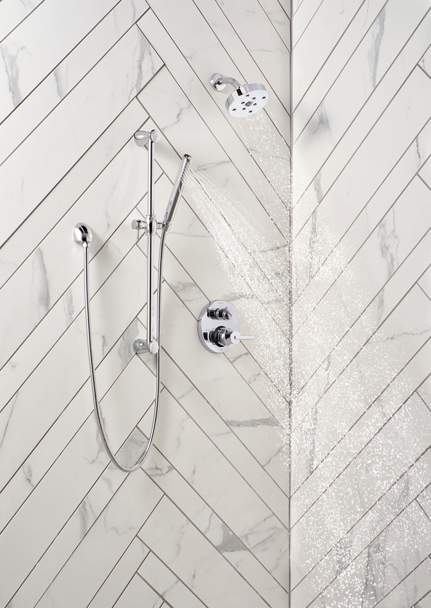 Delta Trinsic Chrome Finish Integrated Diverter Shower System with Slide Hand Bar and Showerhead