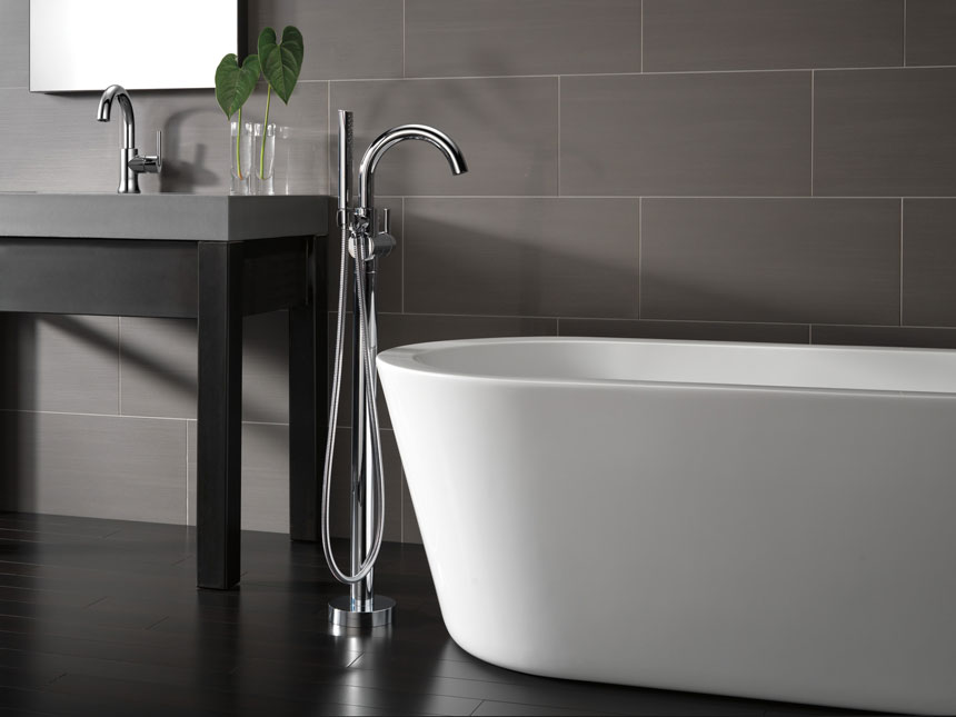 Delta Trinsic Collection Chrome Free Standing Tub Filler with Handshower and Bathroom Faucet