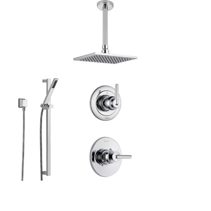 Delta Trinsic Collection Chrome Shower System with Ceiling Mount Shower Head