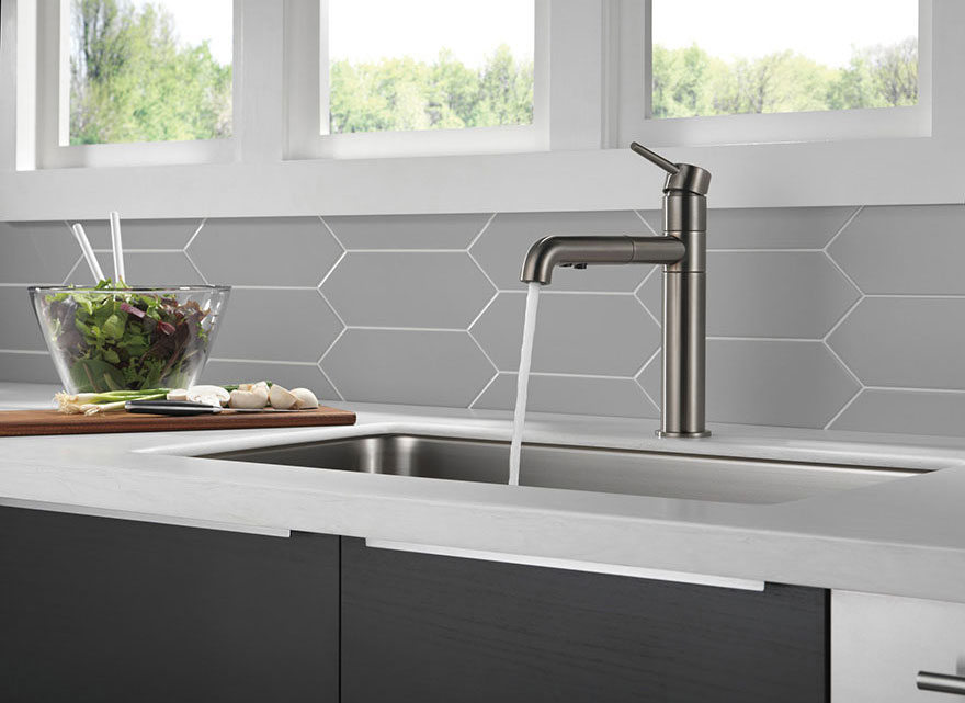 Delta Trinsic Collection Black Stainless Pull-Out Kitchen Faucet