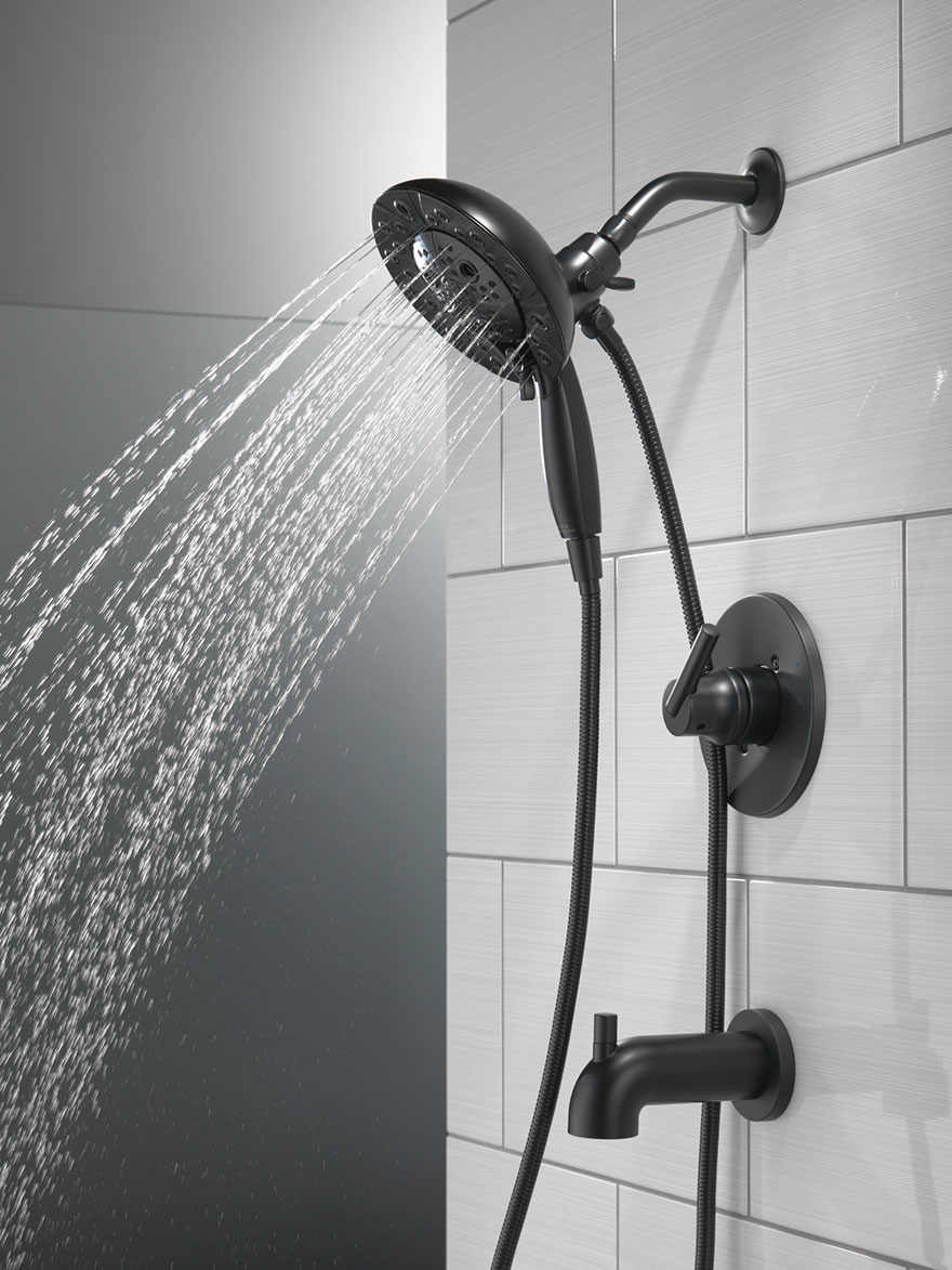 Delta Trinsic Collection Matte Black In2ition Tub and Shower Faucet System