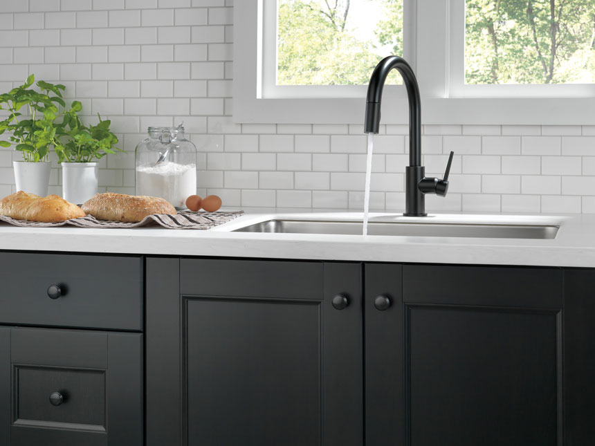 Delta Trinsic Collection Matte Black Kitchen Faucet with Pull-out Sprayer