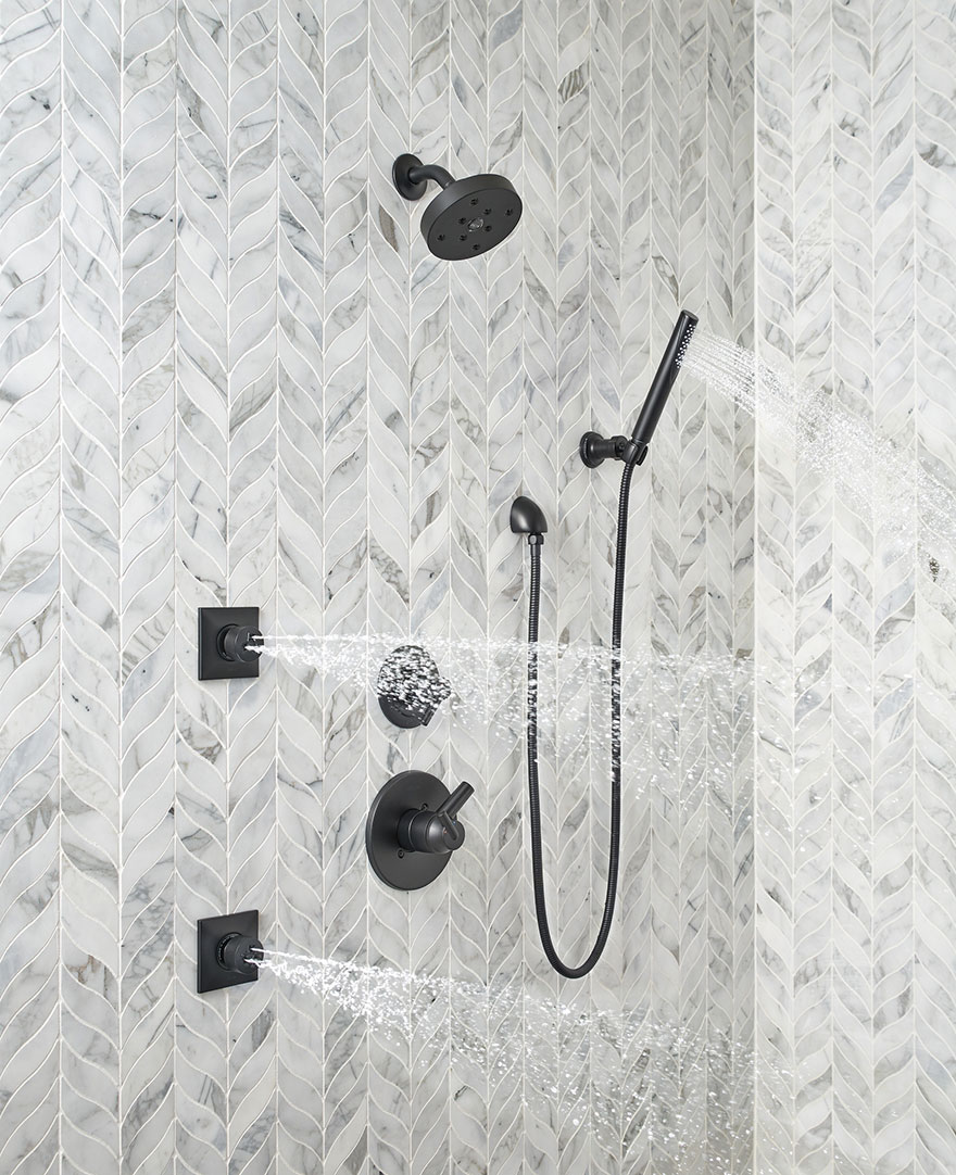 Delta Trinsic Collection Matte Black Shower System with Body Sprays and Hand Shower