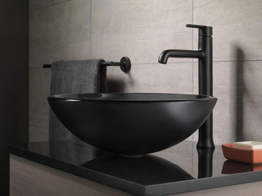 Delta Trinsic Collection Matte Black Vessel Sink Faucet