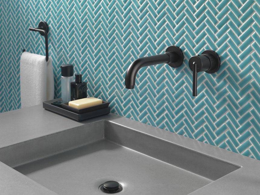 Delta Trinsic Collection Matte Black Wall Mount Lavatory Faucet
