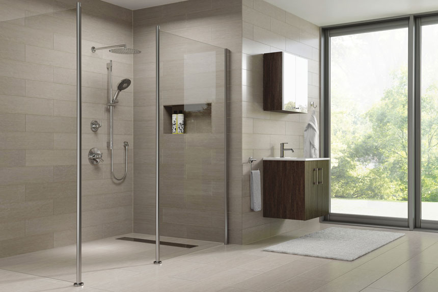 Delta Trinsic Collection Stainless Steel Shower System with Hand Shower and Thermostatic Control