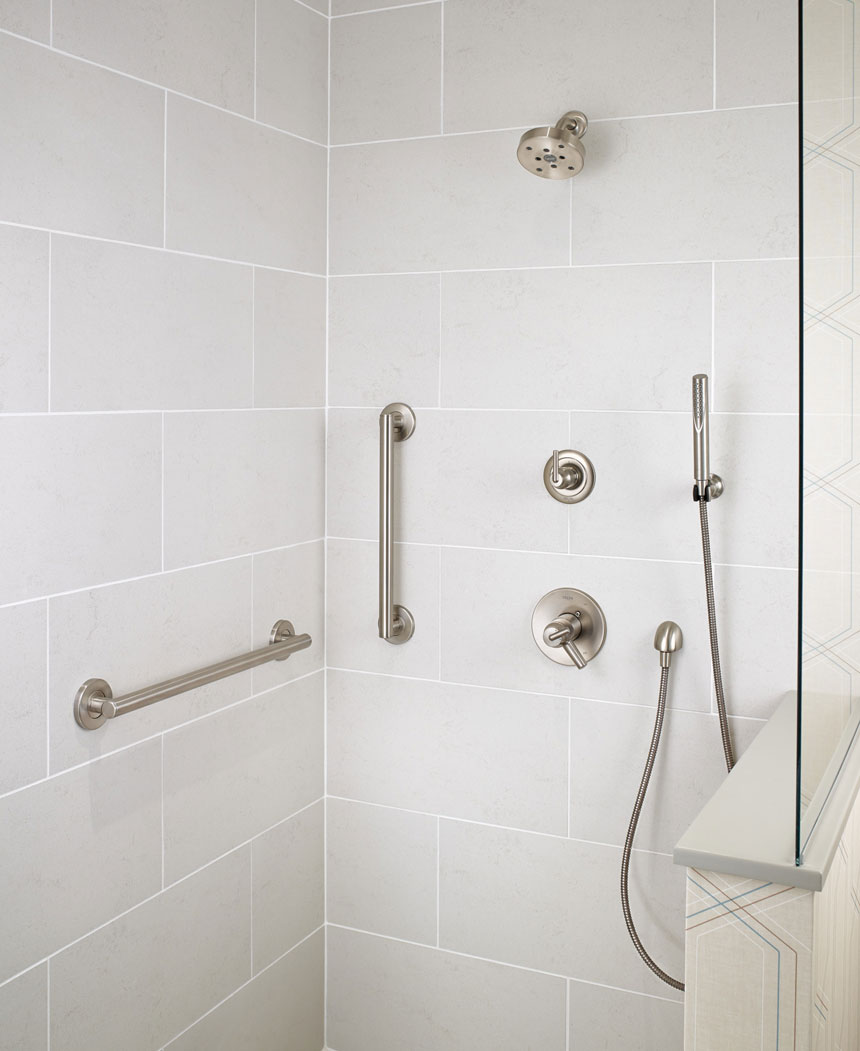 Delta Trinsic Collection Stainless Steel Shower Faucet with Thermostatic Control and Hand Shower