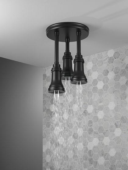 Delta Matte Black Ceiling Mounted Triple Pendant Showerhead