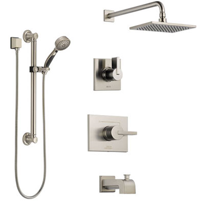 Wall Mount Tub Filler Faucet with Hand Shower System