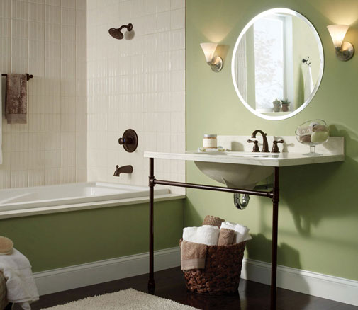 Delta Venetian Bronze Tub Shower Combination Faucet Widespread Faucet with Bronze Metal Vanity Green Bathroom