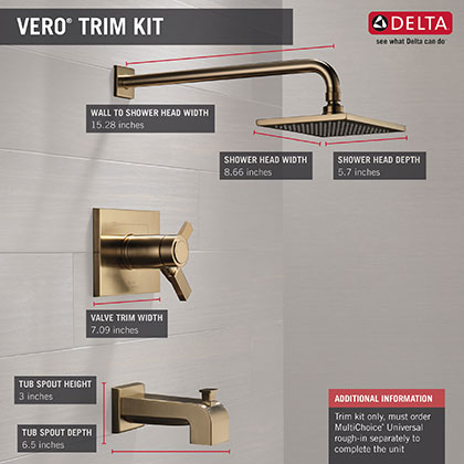 Delta Vero Collection Champagne Bronze Finish Tub and Shower Combo Faucet Infographic