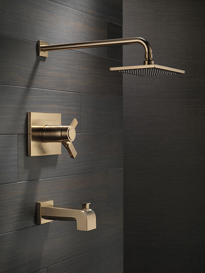 Delta Vero Collection Champagne Bronze Tub and Shower Combination Faucet with Water Off