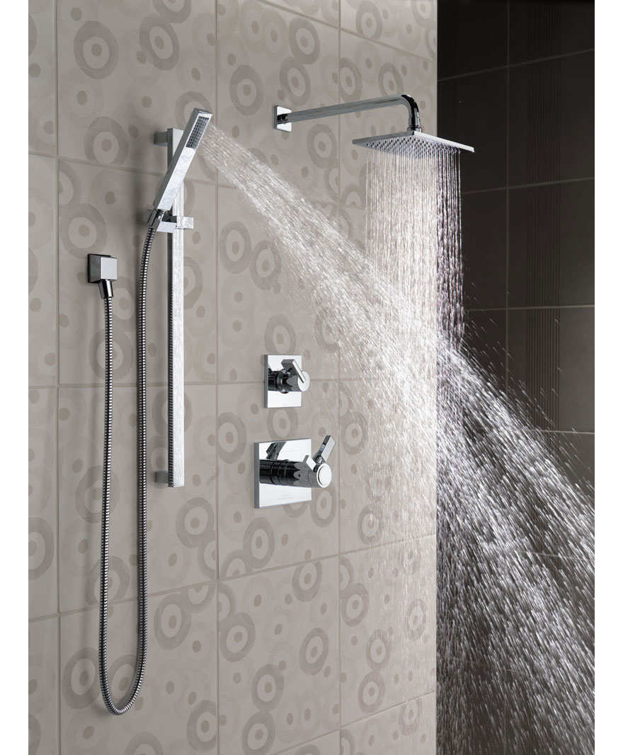 Delta Vero Complete Chrome Shower System with Handheld Spray and Large Rain Showerhead